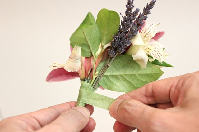 Foliage finishes the corsage.