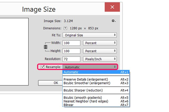 how to add interpolation to an image in photoshop