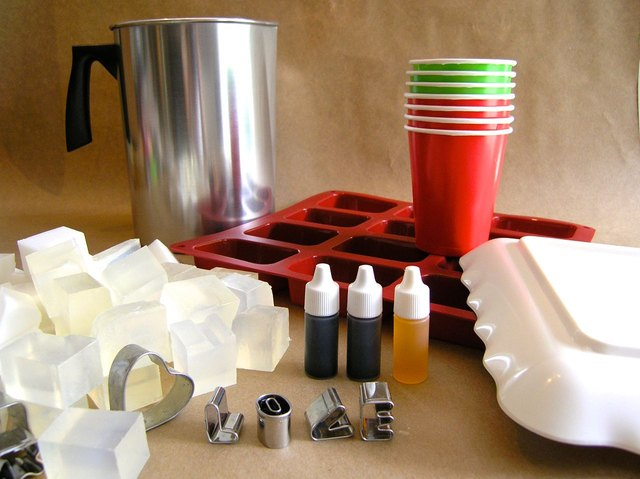 Supplies for making homemade soap