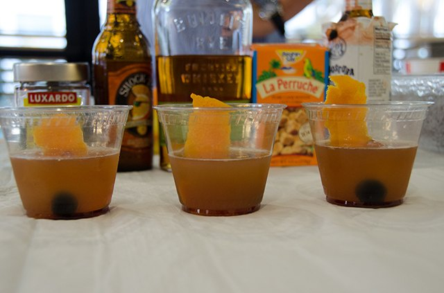 Mix up a classic cocktail with an Old Fashion With Shock Top Floater.