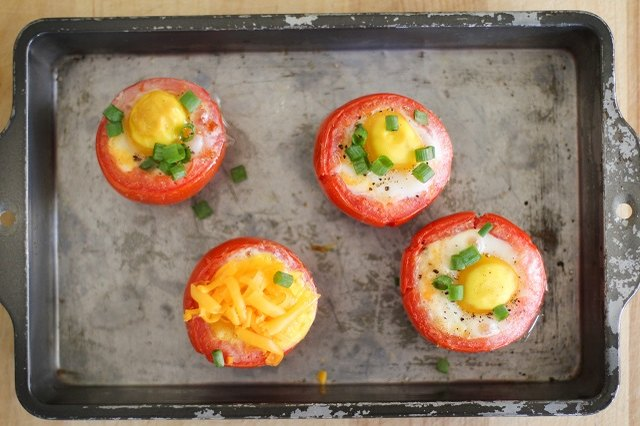 Bake eggs in tomatoes for a smart breakfast.