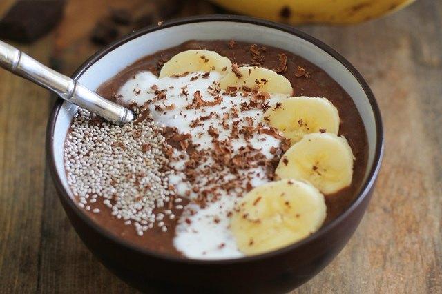 A cacao banana acai bowl provides a tasty energy boost.