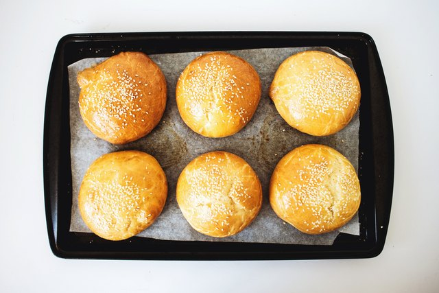 When baked, the brioche buns will have a golden color and sound hollow when tapped.