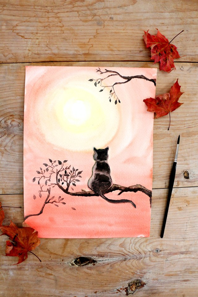 Diy black cat watercolor painting ehow for Cat paintings on canvas