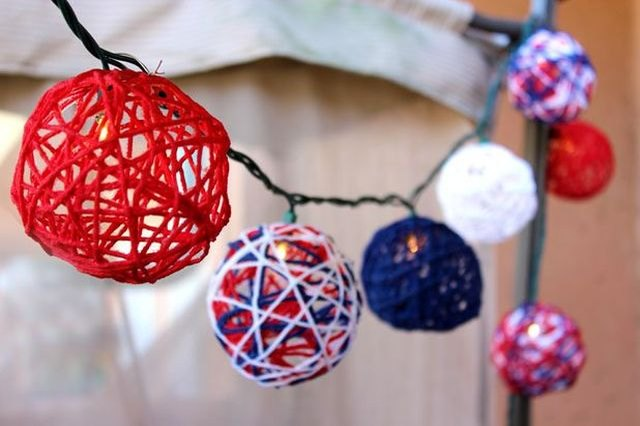 Show off your colors with these adorable patriotic string lights.