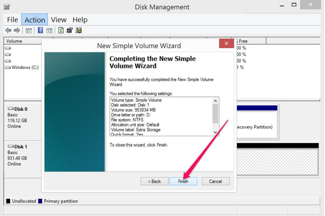 "Close the New Simple Volume Wizard by clicking ""Finish."""