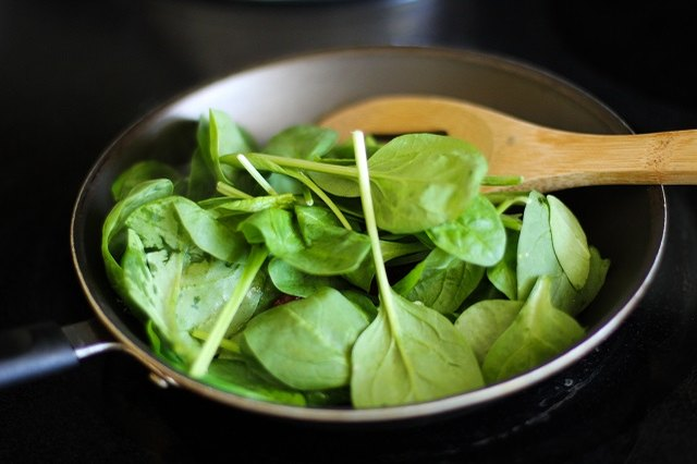Add the spinach and basil.