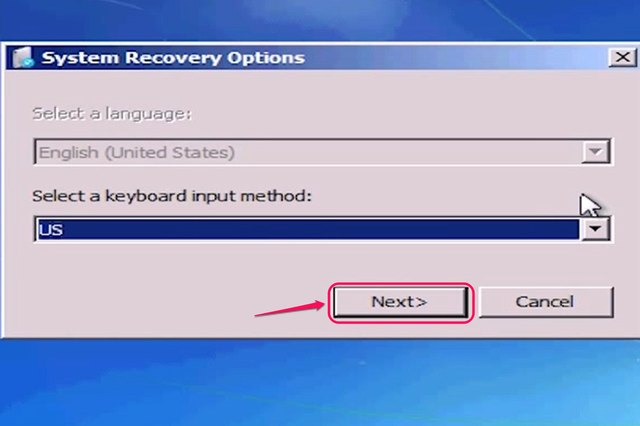 """Choose your keyboard language if necessary. Click """"Next."""""""