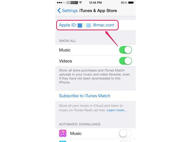 Scroll down the screen to manage your iTunes account settings, such as automatic downloads of purchased content.