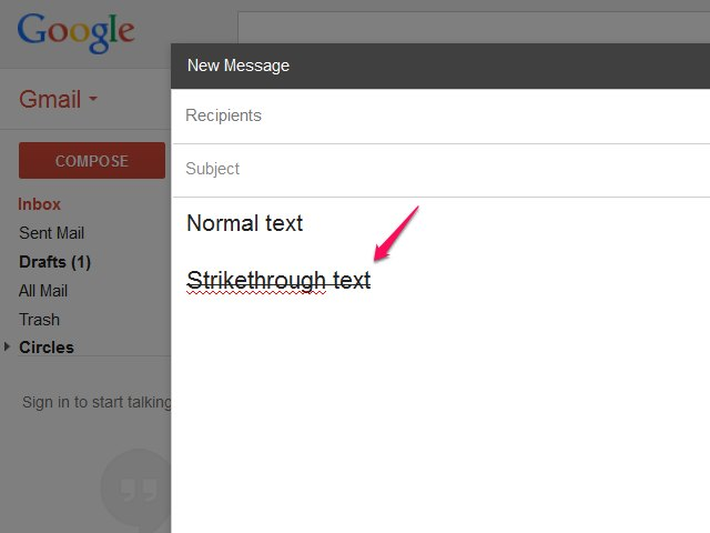 how to get a strikethrough in gmail
