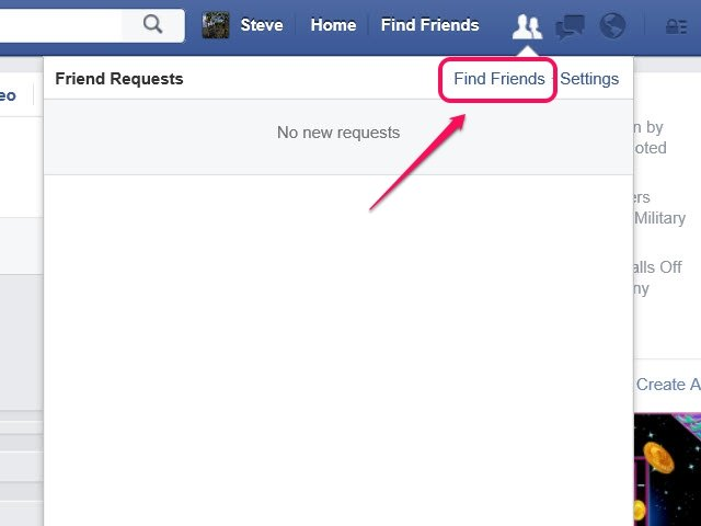 Click Settings to choose the group of users who can send you a friend request.