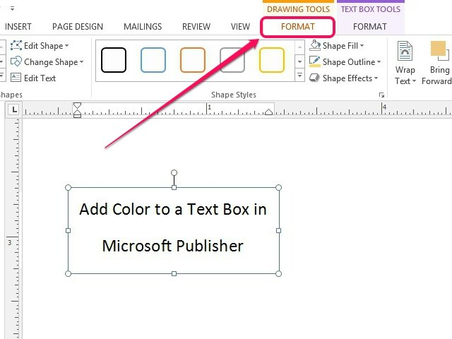 how to put text in a box in word