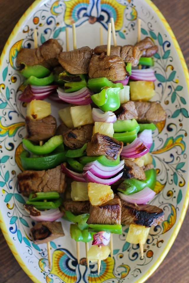 Grilled shish kabobs.