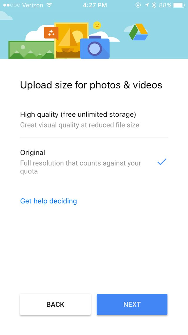 """High Quality"" photos will not count toward your Google Drive storage limit."