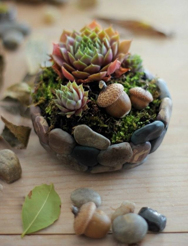 Craft polymer clay rocks to form this nature-inspired planter