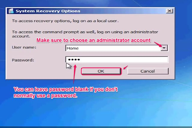 """Choose your username, enter your password and click """"OK."""""""