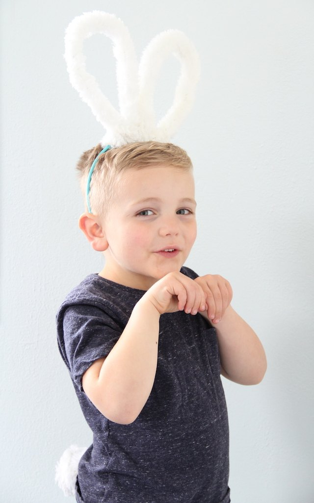 Make a pair of bunny ears and a tail out of oversized pipe cleaners.