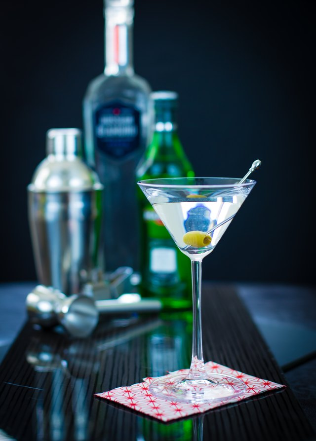 The classic vodka martini has just a bit of dry vermouth and is garnished with an olive.