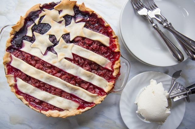 "This patriotic ""USA flag"" pie uses blueberries and cherries."