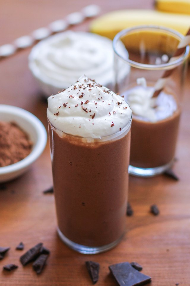Homemade Healthy Chocolate Shake with Coconut Whipped Cream