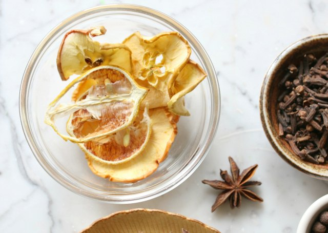 Mulling spices usually include a fruit or citrus component, like apples or lemon.