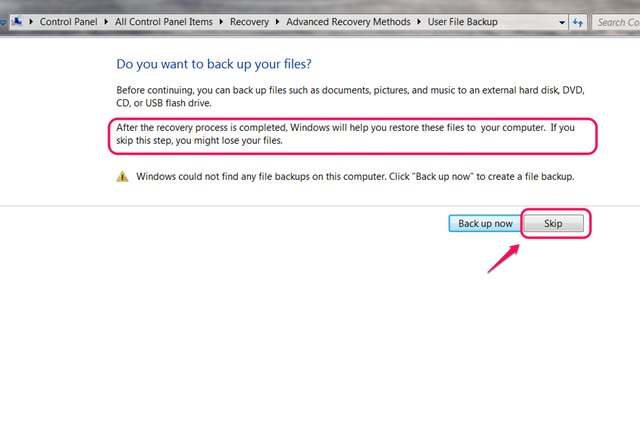 """Select """"Skip"""" to go straight to restoring the system image."""