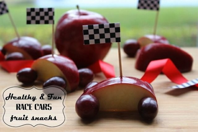 Fruit race cars are a fun way to eat healthy.