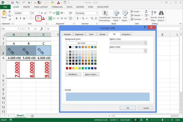 how to change background color of excel spreadsheet