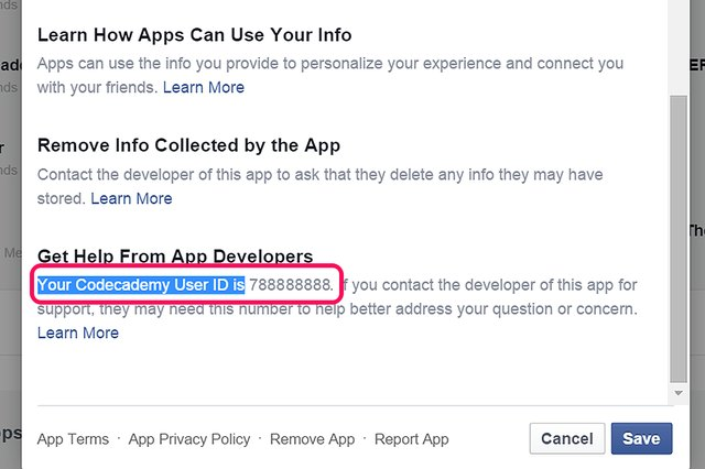Your User ID appears in the App Settings window.