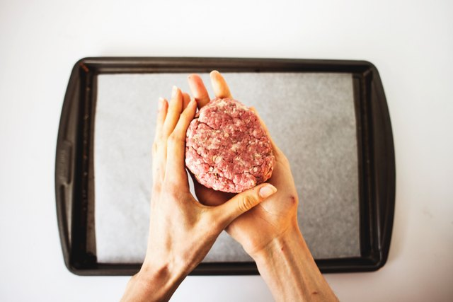You can use your hands to easily shape the beef hamburger patties.