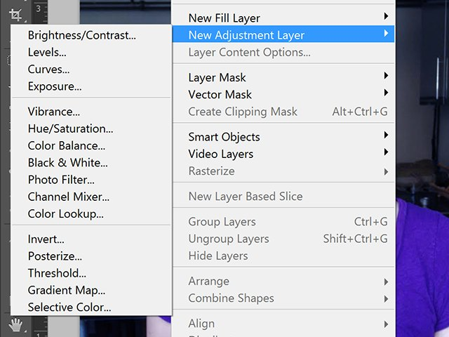 Select an appropriate adjustment layer.