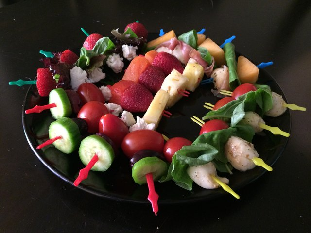Salad on a stick makes a great addition to any party.