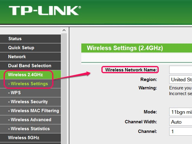 Dual-band routers might have sections for 2.4 and 5GHz wireless networks.