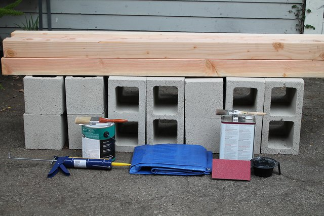 Cinder block bench supplies