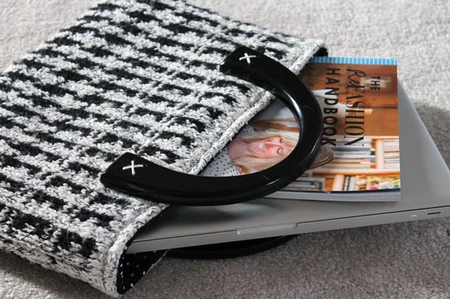 Create a winter tote from on old houndstooth sweater.