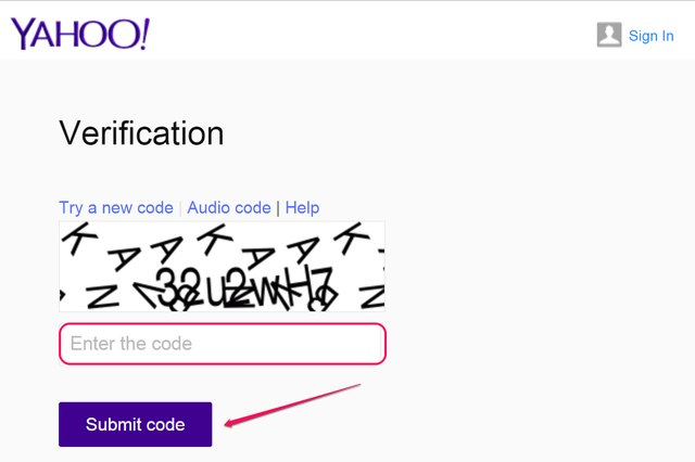 "Verification code and ""Submit Code"" button."