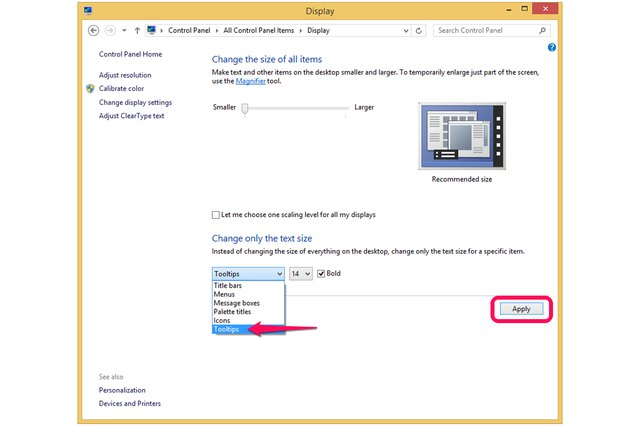 word how to change default text size