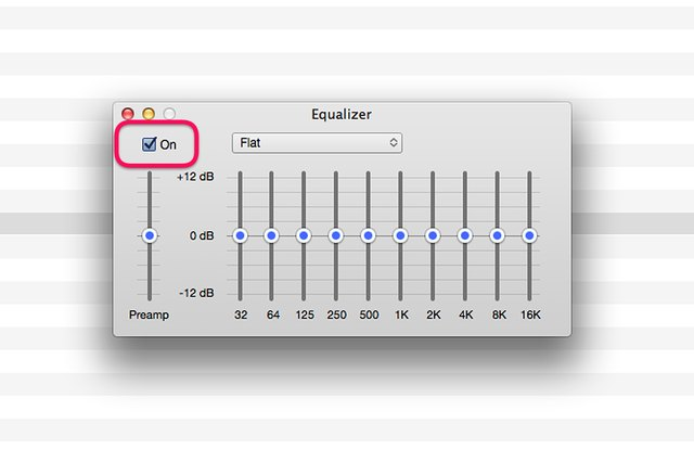 "Make sure the Equalizer's ""On"" option is selected."