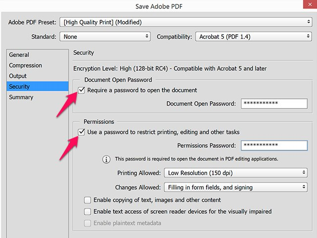 Use separate strong passwords for opening and editing a PDF.
