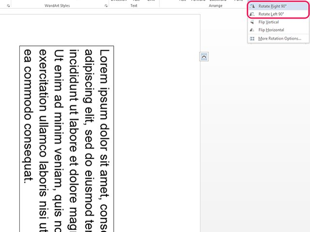 In addition to rotating it, Word also allows you to flip text upside down by selecting Flip Vertical.