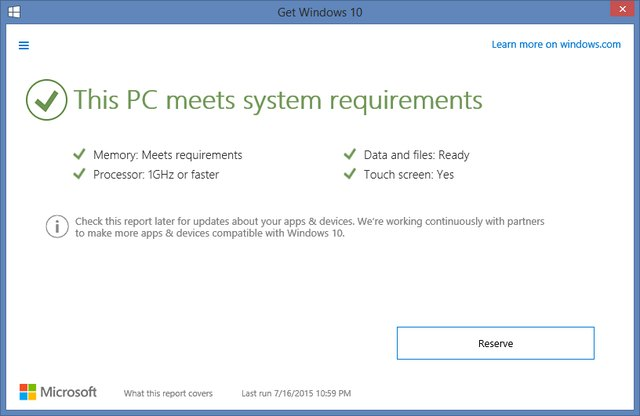 System requirements report