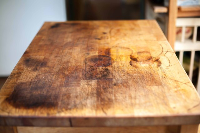 cleaning old butcher block table 2