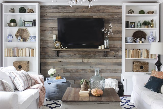 How to create a wood pallet accent wall ehow - Wooden pallet accent wall ...