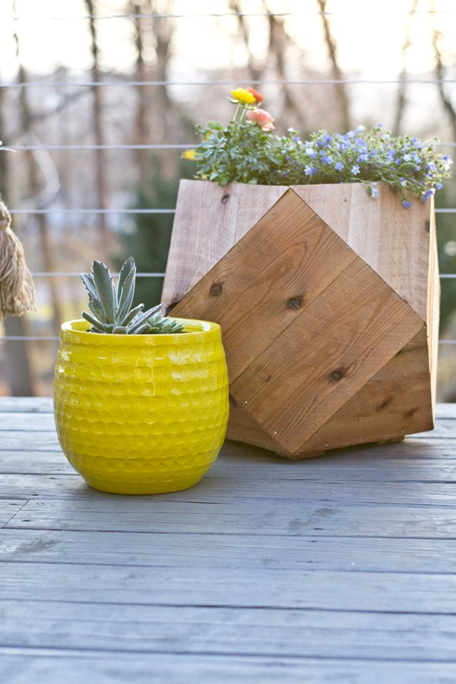 Build a geometric planter from cedar fence pickets.