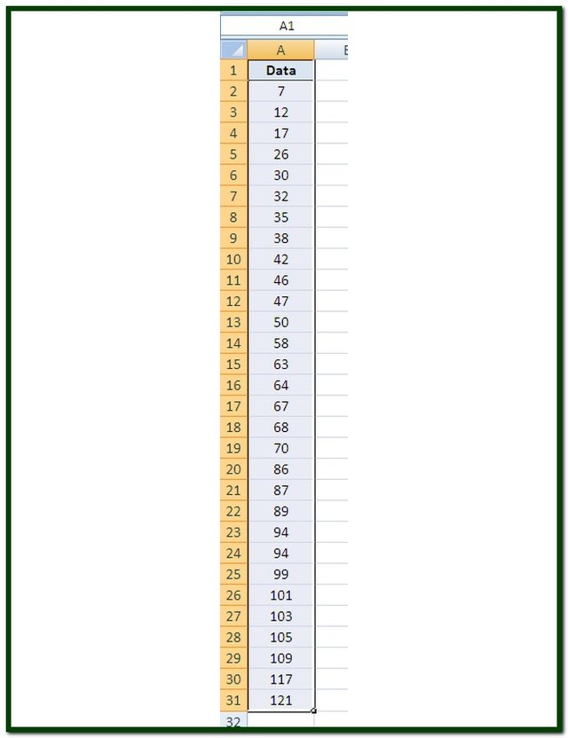 On the Excel worksheet, highlight only the cells containing data.