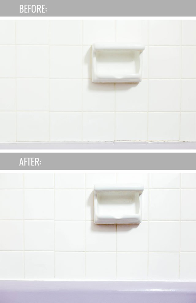 See the before-and-after difference new caulk makes.