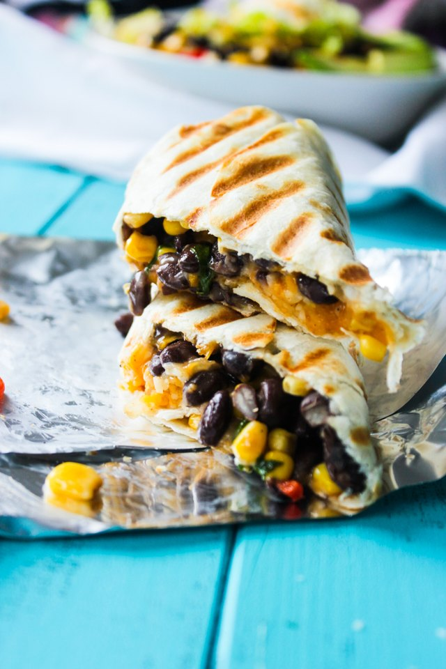 Crispy black bean and rice burritos.