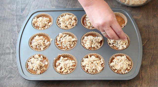 Top each muffin with streusel mixture.