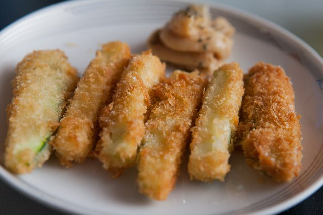 Fried zucchini batons make tasty finger-food appetizers.