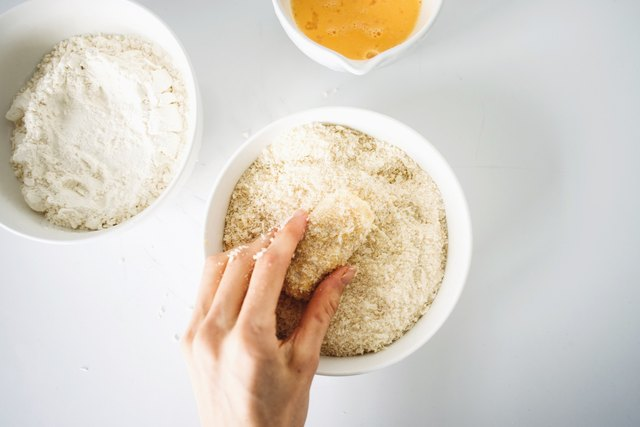 Coat each tot in the flour, eggs and bread crumbs.